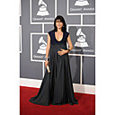 Selma Blair Sheath/ Column Scoop Sweep/ Brush Train Chiffon Grammy/ Evening Dress (FSH02597)