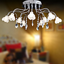 10-light K9 Crystal Ceiling Light With Mini Floral Glass Lampshade (0942-98012-C-10)