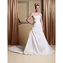 A-line Side-Draped Taffeta Wedding Dress with Beaded Appliques