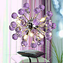 Chrome Finish Purple Crystal Chandelier with 6 lights - Floral Design (K9 Crystal)