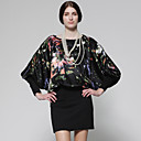 100% Silk Printed Long Bat Sleeves Knit Dress / Women's Dresses (FF-A-BA0997009)