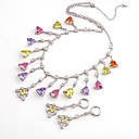 Fashion CZ And Brass With Platinum Plated Jewelry Set, Including Necklace,Earrings(0801-HYS0051)