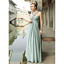 Sheath/ Column V-neck Floor-length Chiffon Elastic Silk-like Satin Evening/ Prom Dress