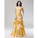 A-line Off-the-shoulder Floor-length Taffeta Evening Dress
