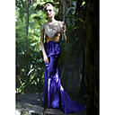 Trumpet/ Mermaid Off-the-shoulder Sweep/ Brush Train Satin Elastic Woven Satin Evening/ Prom Dress