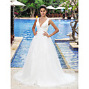 Empire V-neck Sleeveless Sweep/Brush Train Wedding Dress