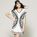 TS White and Black Bohemian Style Butterfly Print Dress