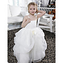 Ball Gown Spaghetti Straps Floor-length Organza Satin Flower Girl Dress