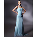 Chiffon Sheath/ Column V-neck Sweep/ Brush Train Evening Dress