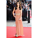 Chiffon Sheath/ Column Bateau Floor-length Evening Dress inspired by Cheryl Cole