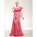 Organza Satin Sheath/ Column Jewel Sweep/ Brush Train Evening Dress inspired by Kate Bosworth