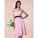 A-line Sweetheart Knee-length Chiffon Over Satin  Bridesmaid Dress