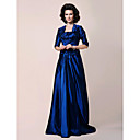 A-line Strapless Floor-length Side-Draped Taffeta Mother of the Bride Dress With A Wrap