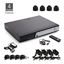 4-Kanal CCTV-Kit + 4pcs black Dome-Kamera mit 12er LED + 500GB HDD