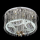 Artistic 9-Light Crystal Drop Flush Mount in Sylinder Style