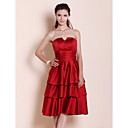 A-line Strapless Knee-length Tiered Satin Bridesmaid Dress