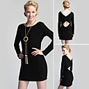 TS Gathered Back Open Design Long Sleeves Dress / Women's Dresses