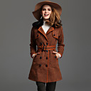 TS Double Breasted Removable Rabbit Fur Collar Tweed Coat