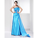 Trumpet/ Mermaid Strapless Sweep/ Brush Train Stretch Satin Evening Dress