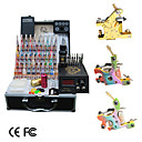 3 Cast Iron Tattoo Guns Kit with LCD Power and 40 Color Ink