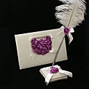 Wedding Guest Book and Feather Pen Set With Lilac Rose Heart