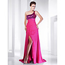 A-line Strapless Sweep/ Brush Train Chiffon Evening Dress