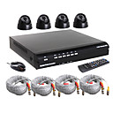 High Cost-Efficient 4CH DVR Kit With Dome Camera (H.264 Compression, 420TV Line CMOS Camera)