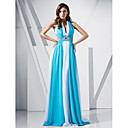 Sheath/ Column V-neck Sweep/ Brush Train Chiffon Evening Dress