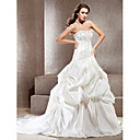 A-line Strapless Cathedral Train Embroidery Satin Wedding Dress