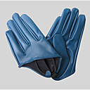 Faux Leather Fingertips Wrist Length Party Gloves
