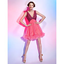 A-line V-neck Short/Mini Tulle Over Stretch Satin Cocktail Dress