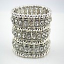  Unisex Rhinestone Bracelets In Silver Alloy