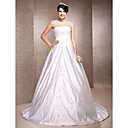 A-line/ Princess Satin Wedding Dress with Beaded Embroidered Detail