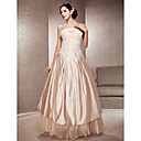 A-line Spaghetti Strap Floor-length Satin And Lace Wedding Dress
