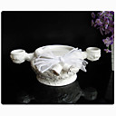 White Ceramic Candle Holder With Rose Detail