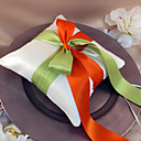 Ring Pillow With Red And Green Ribbons