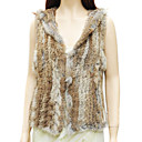 Genuine Rabbit Fur Hooded Vest