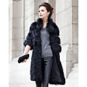 Turndown Collar Half Sleeve Fox Fur/Lamb Fur Party Coat