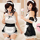 Sweet Girl Black Polyester Maid Suit with White Appron (3 Pieces)