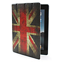 Custodia in pelle PU 4-pieghe con supporto, funzione Sleep/Wake-up, motivo bandiera UK, per iPad 2