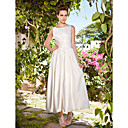 A-line Scoop Ankle-length Satin Wedding Dress