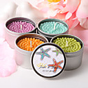 Personalized Round Tin Candle Favor - Colorful Starfish (More Colors)