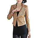 Turndown Collar Long Sleeve Evening/ Office PU Jacket (More Colors)