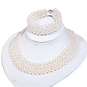 Beautiful Freshwater Pearl Ladies' Jewelry Set Including Necklace And Bracelet