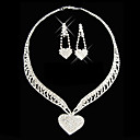 Gorgeous Rhinestone Two Piece Heart Design Ladies' Jewelry Set (45 cm)