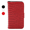 Wallet Styled Genuine Leather Protective Case with Crocodile-Shaped Pattern for iPhone 4/4S