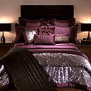 4PCS Return To Rome Stripes Flocking Queen Duvet Cover Set