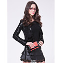 Long Sleeve Collarless Party/ Career Lambskin Leather Jacket With Lace (More Colors)