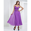Sheath/Column V-neck Tea-length Chiffon Evening Dress