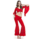 Dancewear Crystal Cotton With Beading Belly Pant Outfit for Ladies More Colors